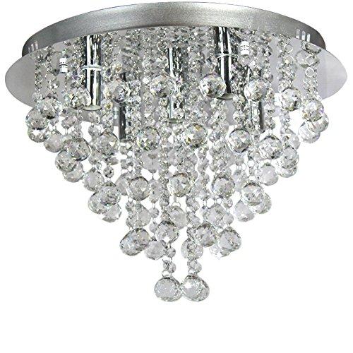 Ella Fashion   European Art Crystal Rain Drop Flush Mount Ceiling Chandelier Fixtures With 5 Lights