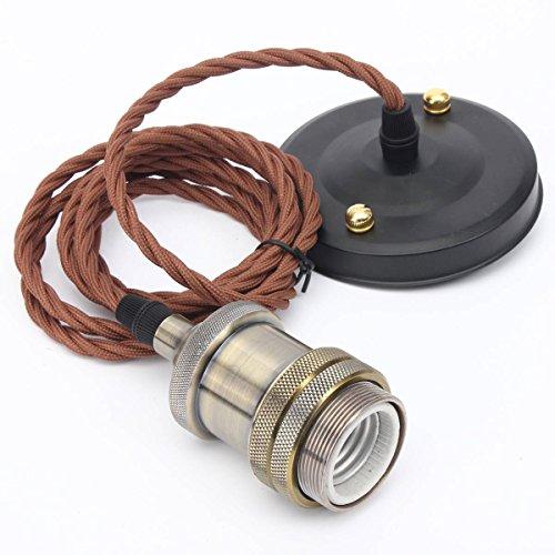 Kingso E26 E27 Modern Copper Effect Ceiling Hanging Textile Cord Lamp Holder Pendant Light Fitting Kitbronze