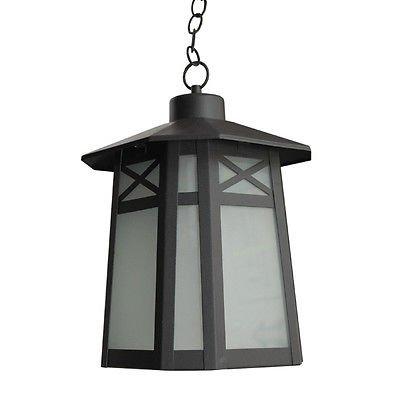 GHP Frost Glass Deluxe Black Outdoor Hanging Ceiling Light Lighting Fixture