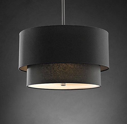 Aiwen Double Bucket Linen shade Chandelier Pendant Light Ceiling Lamp  Bulbs not Included  Grey 3 Lamp Holders