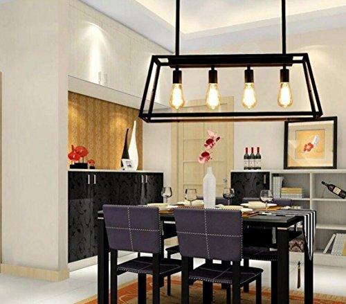Aiwen Rectangular Trapezoidal Acryl Chandelier Pendant Light Ceiling Lamp  Bulbs not Included  Black 4 Lamp Holders