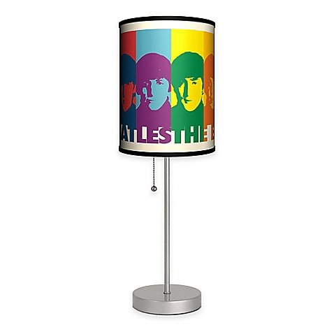 The Beatles Faces Table Lamp with Matte Silver Base and CFL Bulb