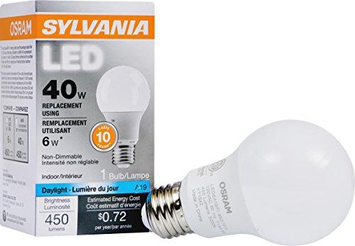 Sylvania 40w Equivalent Led Light Bulb A19 Lamp 1 Pack Daylight Energy Savingamp Longer Life Value Line