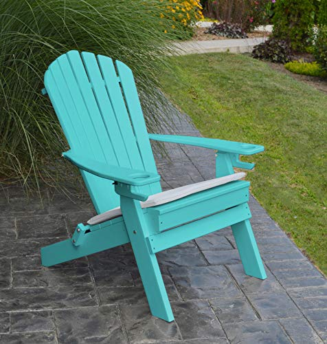POLYWOOD ADIRONDACK CHAIR FOLDING-2 Two Cup Holders-Foldable Poly Wood Seating Recycled Plastic Chairs-Weatherproof Waterproof No Maintenance Outdoor Seat-Patio Deck And Dock Furniture Teal Blue