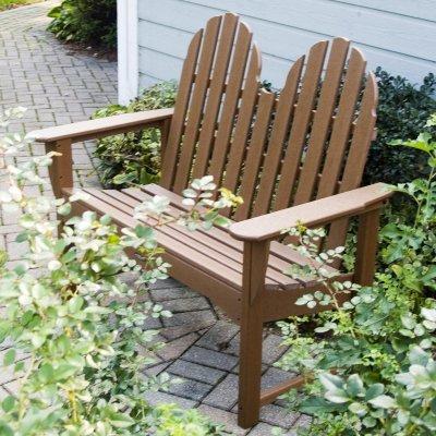 POLYWOOD Adirondack Plastic Garden Bench Finish Dark Teak