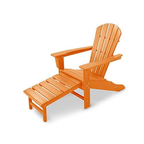 Polywood HNA15TA Palm Coast Ultimate Hideaway Ottoman Adirondack Chair Single Tangerine