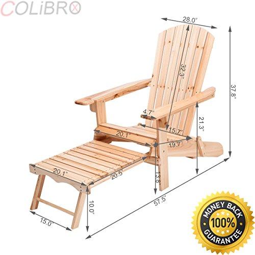 COLIBROX Foldable Adirondack Chair Wood wRemovable Ottoman Outdoor Patio Deck Garden folding adirondack outdoor chairs sale best adirondack patio chairs wood amazon lifetime adirondack chair