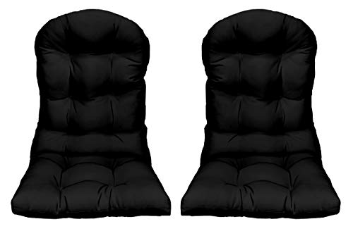 RSH Décor Indoor Outdoor Tufted Adirondack Patio Chair Seat Pillow Cushion - Choose Color 2 Solid Black
