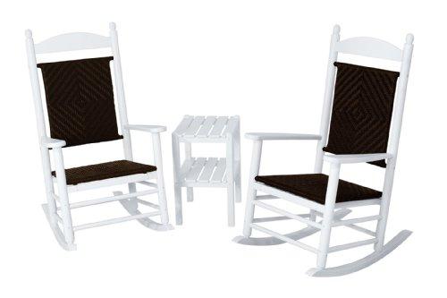 Polywood Pws141-1-fwhca Jefferson 3-piece Woven Rocker Chair Set White Framecahaba