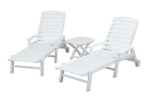 POLYWOOD PWS145-1-WH Nautical 3-Piece Chaise Set White