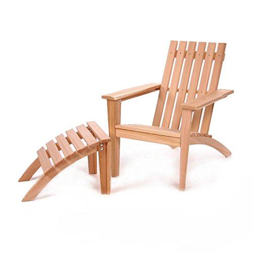 All Things Cedar Adirondack Chair and Ottoman Easybac 2 pc Set - Western Red Cedar