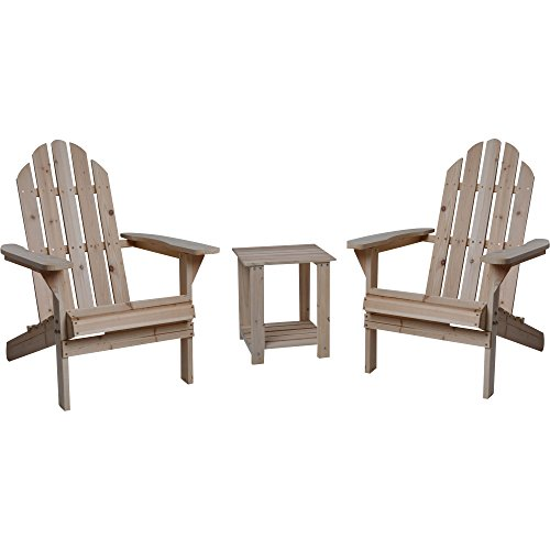 Fir Wood Adirondack Chairs with Table - 3-Pc Combo