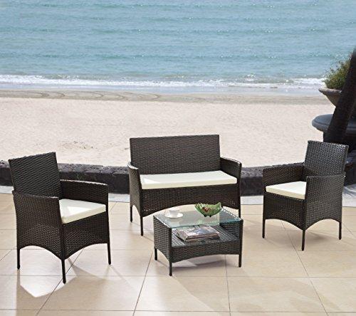 Modern Outdoor Garden Patio 4 Piece Seat - Gray Black Wicker Sofa Furniture Set Espresso