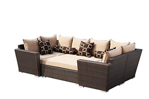 Supernova 6-Piece Dark Brown Outdoor Garden Patio Resin Wicker Sofa Furniture Set with Sunbrella