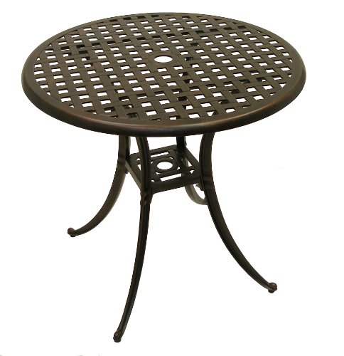American Trading Company Weave Design Antique Bronze Solid Cast Aluminum Table 30 Diameter x 28 Height