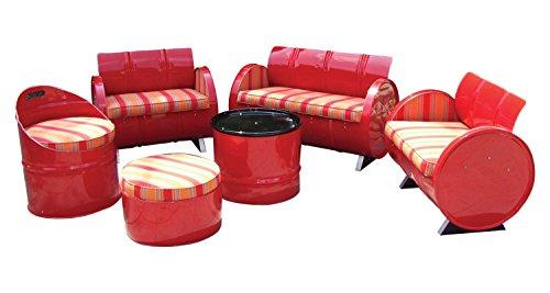 Drum Works Furniture Handmade Salsa Conversation Garden Patio Seating Set of 6