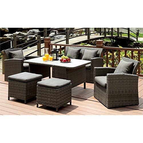 Furniture of America Vorelli Modern 6-Piece Patio Seating Set in Gray