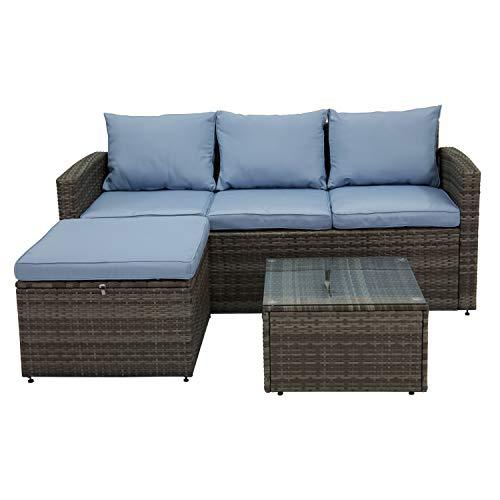 Jur_Global 3PC All-Weather Wicker Patio Seating Set GrayBlue