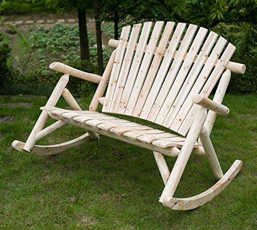 Merax Dual-Purpose Cedar Patio Love Seat Deck Fir Wood Outdoor Rocking Chair log color Natural look