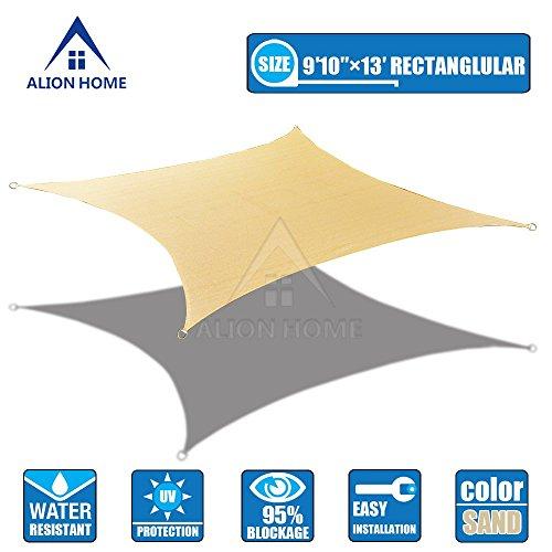 Alion Homecopy Terylene Waterproof Woven Sun Shade Sail - Desert Sand 13 Ft 1&quot X 9 Ft 10&quot Rectangle
