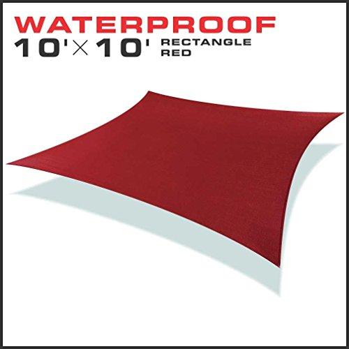 Windscreen4less 10x10 Rectangle Waterproof Woven Sun Shade Sail Red