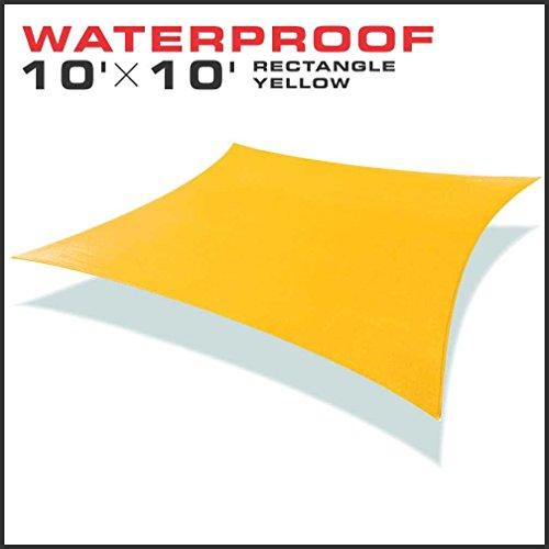 Windscreen4less 10x10 Rectangle Waterproof Woven Sun Shade Sail Yellow
