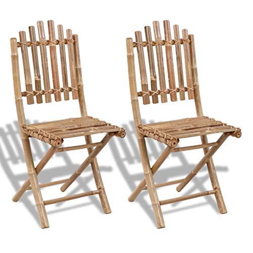 Folding Garden Chairs 2 pcs Bamboo