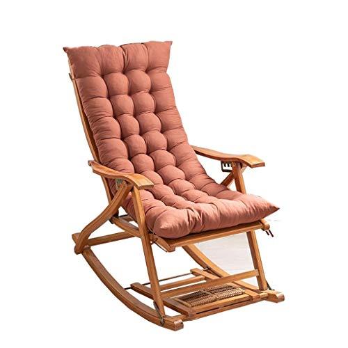 Folding Rocking Chair Deck Chair Bamboo Chair Bedroom Living Room Balcony Sun Lounger Patio Garden Chair Nap Chair Backrest Armchair Outdoor Recliner Color  DCushion