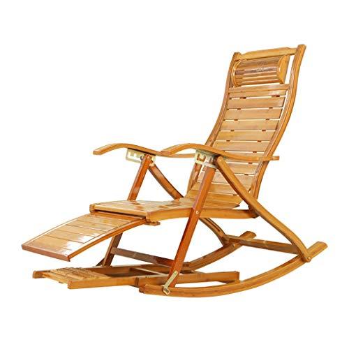 Folding Rocking Chair Deck Chair Bamboo Chair Sun Lounger Garden Patio Outdoor Recliner Backrest Armchair Pregnant Woman Chair Color  ACushion