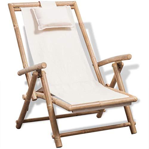 mewmewcat Outdoor Patio Bamboo Chaise Folding Chair Lounge Chair Garden Wood Deck Chair White 433 x 252 x 28-358 L x W x H