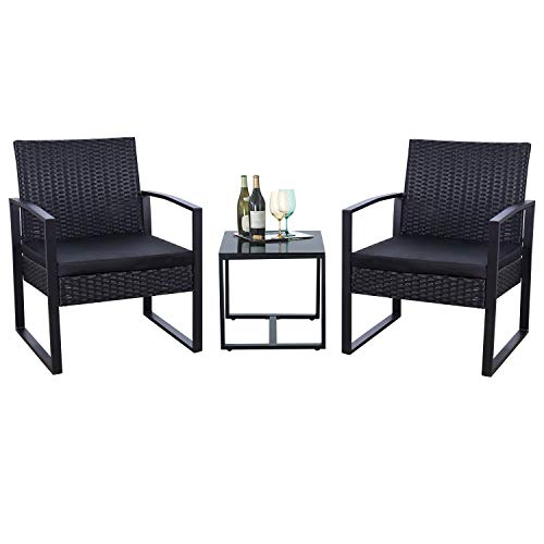Flamaker 3 Pieces Patio Set Outdoor Wicker Patio Furniture Sets Modern Bistro Set Rattan Chair Conversation Sets with Coffee Table for Yard and Bistro Black