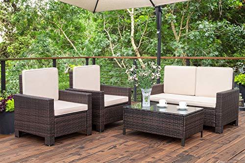 Homall 5 Pieces Outdoor Patio Furniture Sets Rattan Chair Wicker Conversation Sofa Set Outdoor Indoor Backyard Porch Garden Poolside Balcony Use Furniture Beige