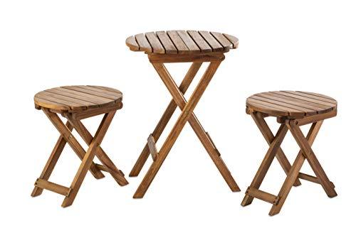 Hanie Design SG85 Sunset Garden Series Oria Outdoor Bistro 3-Piece Real Wood Patio Set Natural
