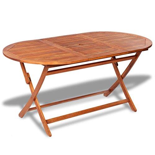 Tidyard Outdoor Wood Patio Dining Table with an Umbrella HoleLarge Folding Table Acacia Wood