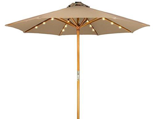 Trademark Innovations 9 Solar Powered LED Lighted Wood Frame Patio Umbrella Tan