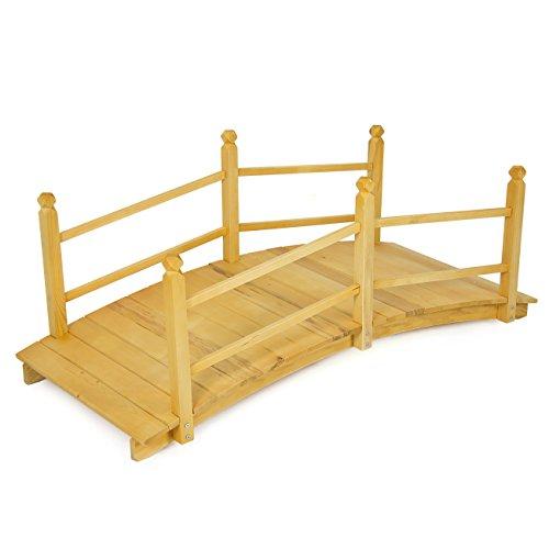 Best Choice Products&reg Wooden Bridge 5  Natural Finish Decorative Solid Wood Garden Pond Bridge New