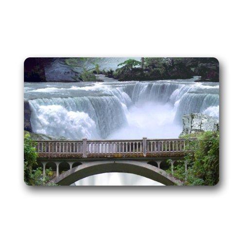 Forest Waterfall Wooden Bridge Non-Slip Indoor or Outdoor Door Mat Doormat Home Decor Rectangle - 236L x 157W316 Thickness