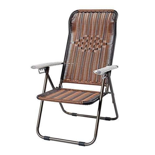 NILINBA ReclinersArmchairsChairs Bamboo Wicker Chair Recliner Office Lunch Break Outdoor Leisure Folding Beach Chair Color  Dark Brown Size  110 58 38cm