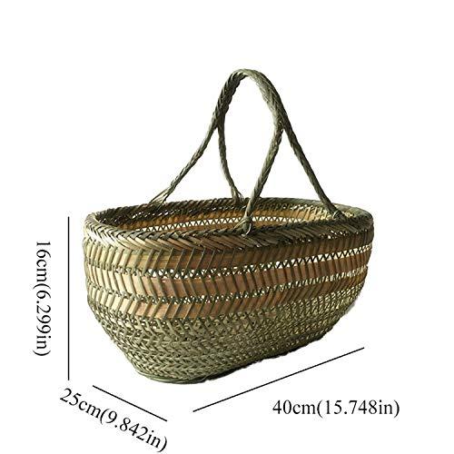 Round Large Bamboo Wicker Basket Straw Rattan Handmade Organizer Baskets for Storage Bread Fruit Laundry Panier Osier Picnic40X25X16Cm