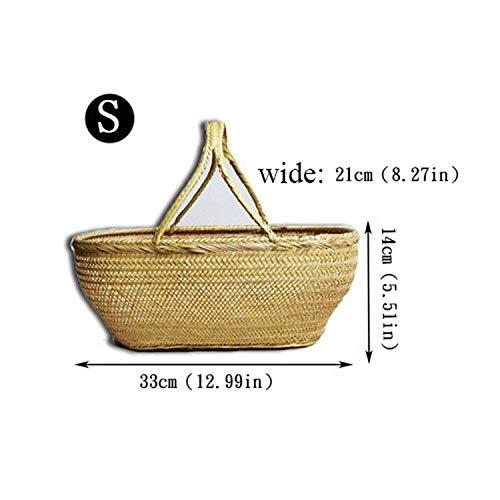 Round Large Bamboo Wicker Basket Straw Rattan Handmade Organizer Baskets for Storage Bread Fruit Laundry Panier Osier PicnicS33X21X14