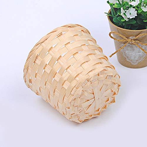 Vnbigstore Handmade Sundries Organizer Bamboo Plant Basket Wicker Box Nursery Pots Storage Basket Straw Garden Flower Pot
