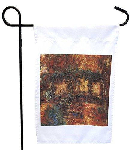 Rikki Knight Claude Monet Art The Japanese Bridge 2 House Or Garden Flag With 11 X 11-inch Image 12 X 18-inch