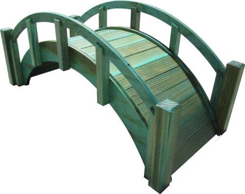 Samsgazebos Miniature Japanese Treated Wood Garden Bridge 25-inch Green