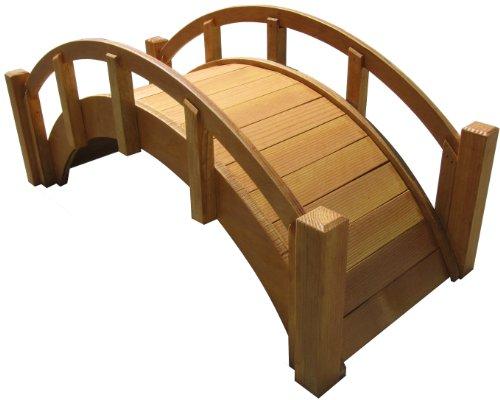 Samsgazebos Miniature Japanese Waterproofed Wood Garden Bridge 25-inch Tan