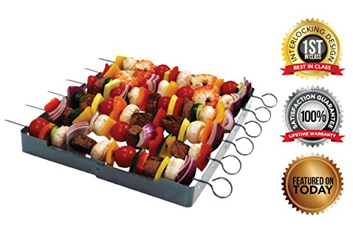 Stainless Steel-Heavy Duty Shish Kebab 6-Piece Skewer - Shish Kabob Rack Grill Set for ALL Meats Vegetables-Over 2 Dozen Amazing Shish Kabob Recipes Interlocking Shish Kabob Skewers by MORE