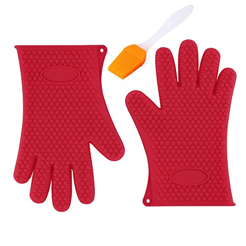 Alolli Heat Resistant Silicone Bbq Glove For Cooking Grill Smoking Oven Mitts  Pot Holder