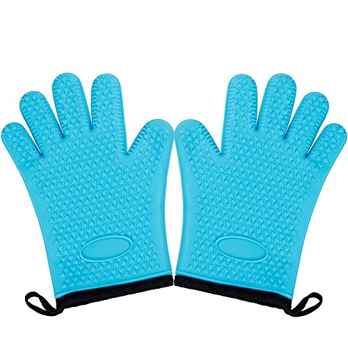 Magician Heat Resistant Gloves - 1 Pair 5-fingers Non-slip Silicone Pot Holders Oven Mitts for Grilling Up to 500ËšF Blue
