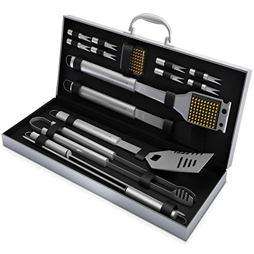 Bbq Grill Tools Set With 16 Barbecue Accessories - Stainless Steel Utensils With Aluminium Case- Men Complete