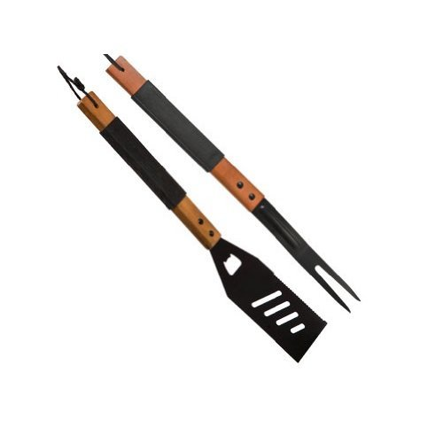BBQ Barbecue Heavy Duty Fork and Spatula Set with Leather Loop for Hanging