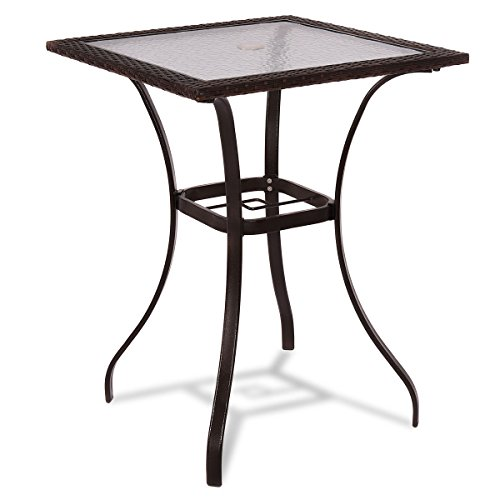 TANGKULA Patio Table Outdoor Garden Balcony Poolside Lawn Glass Top Steel Frame All Weather Dining Bistro Table Mix Brown Square 285